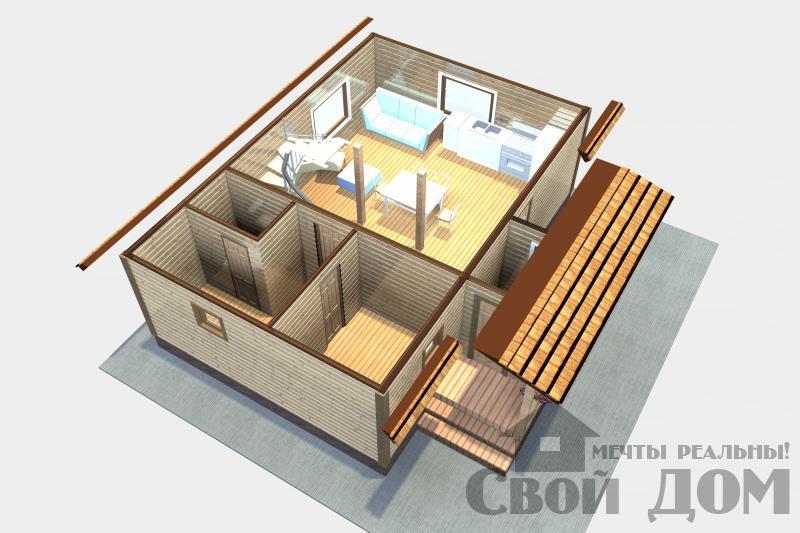 БРУС-10. Дом-баня 6*9 м