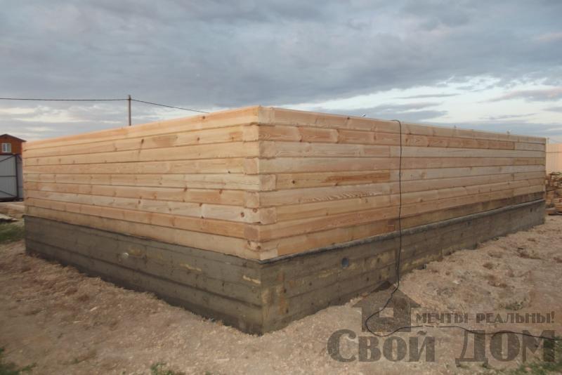 СНТ Ромашки, Чехов. Строительство дома 6*8 из профилированного бруса 150*200мм. Фото 2
