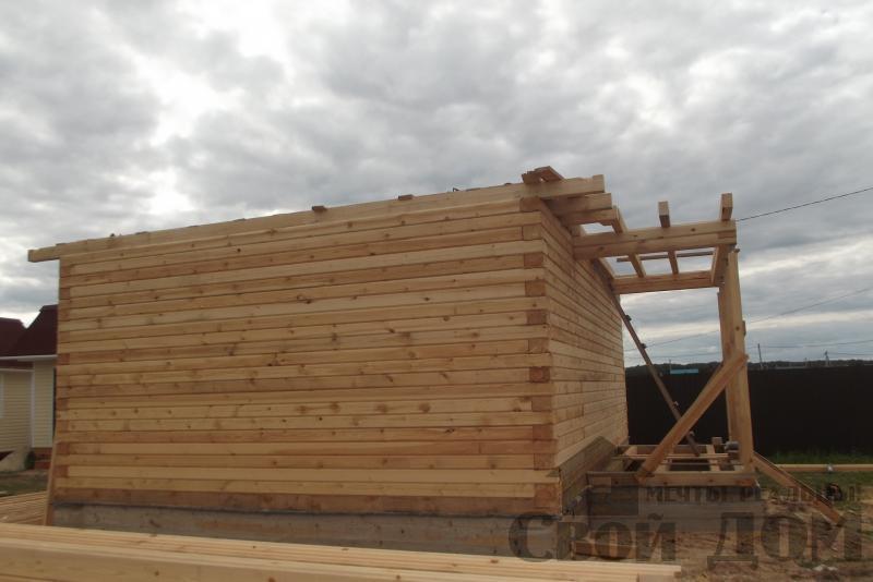 СНТ Ромашки, Чехов. Строительство дома 6*8 из профилированного бруса 150*200мм. Фото 3