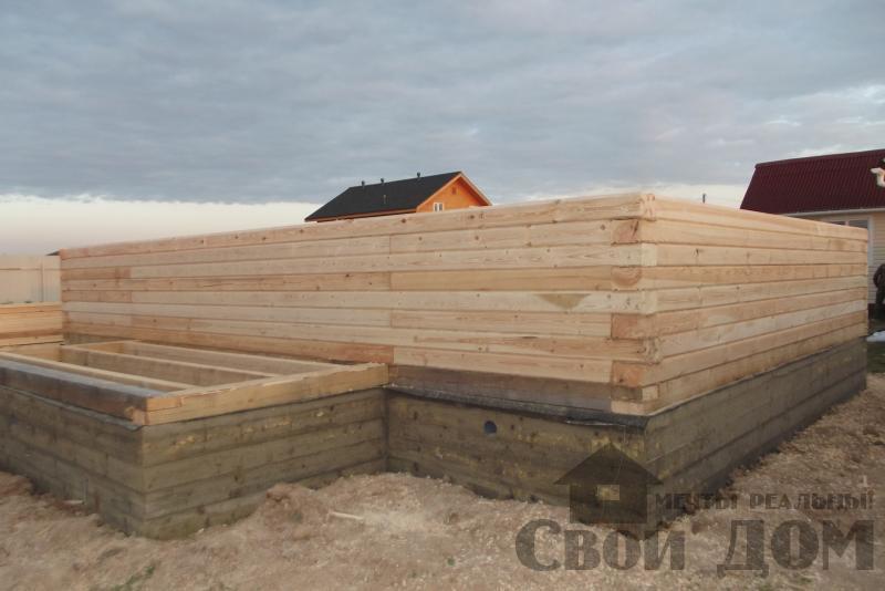 СНТ Ромашки, Чехов. Строительство дома 6*8 из профилированного бруса 150*200мм. Фото 6