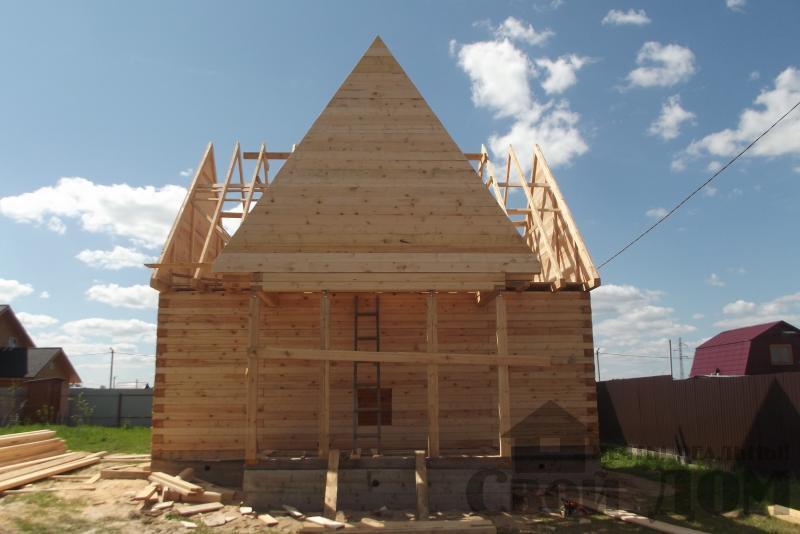 СНТ Ромашки, Чехов. Строительство дома 6*8 из профилированного бруса 150*200мм. Фото 7