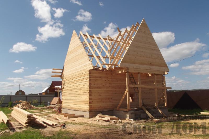 СНТ Ромашки, Чехов. Строительство дома 6*8 из профилированного бруса 150*200мм. Фото 8
