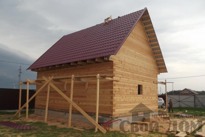 СНТ Ромашки, Чехов. Строительство дома 6*8 из профилированного бруса 150*200мм. Фото 9