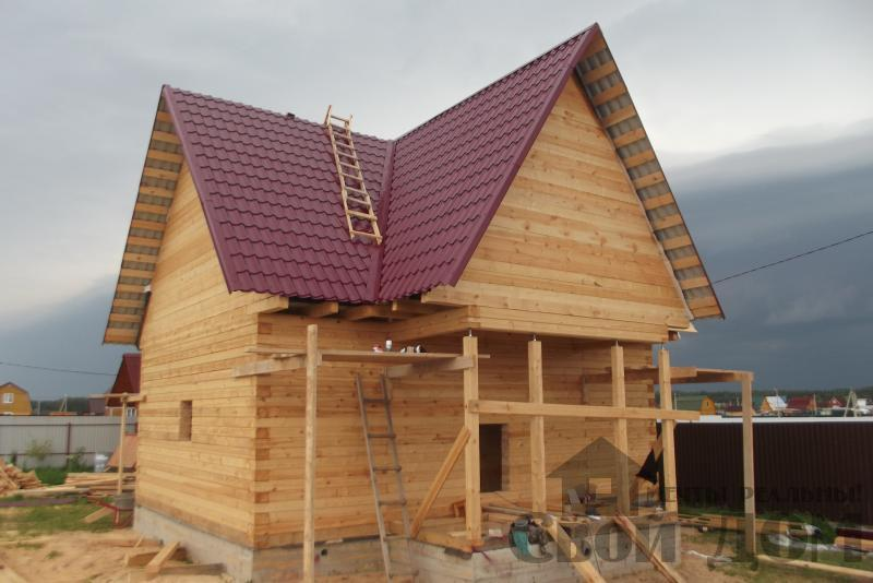 СНТ Ромашки, Чехов. Строительство дома 6*8 из профилированного бруса 150*200мм. Фото 11