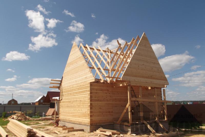 СНТ Ромашки, Чехов. Строительство дома 6*8 из профилированного бруса 150*200мм. Фото 12