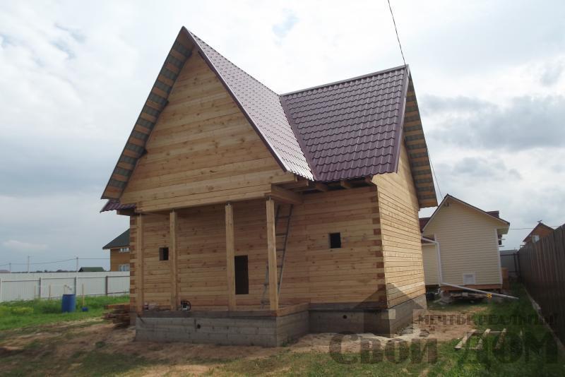 СНТ Ромашки, Чехов. Строительство дома 6*8 из профилированного бруса 150*200мм. Фото 13