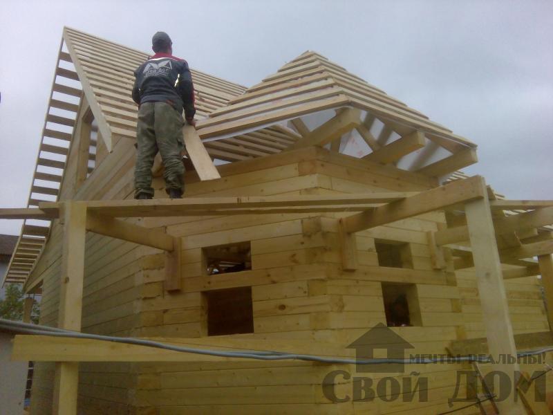 Строительство дома 7 на 9 из профилированного бруса в п. Белый Раст. Фото 47