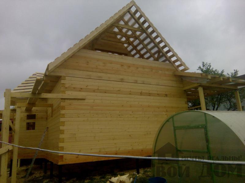 Строительство дома 7 на 9 из профилированного бруса в п. Белый Раст. Фото 48