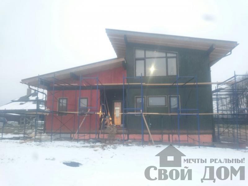 Отделка дома 12 на 14 собранного по технологии брус стоя в Боровске. Фото 1