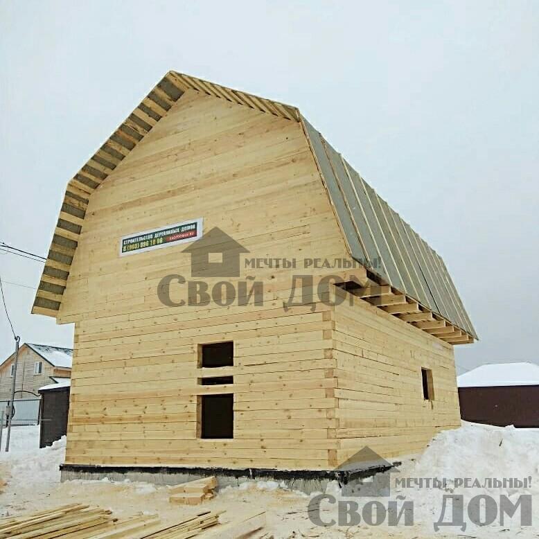 снт Гжель 2 дом 6 на 9 из обрезного бруса по проекту Брус 2. Фото 1
