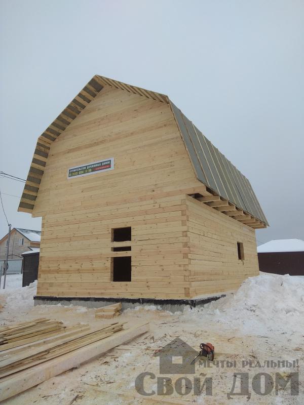 снт Гжель 2 дом 6 на 9 из обрезного бруса по проекту Брус 2. Фото 10