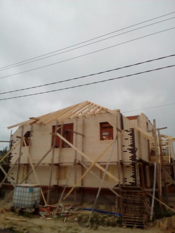 строительство крыши на доме 12 на 14 из кирпича. Фото 1