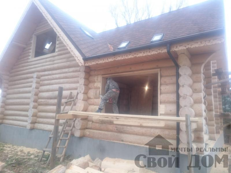 Установка окон с окосячкой проемов в доме из бревна в Красное на Волге д. Русиново. Фото 8
