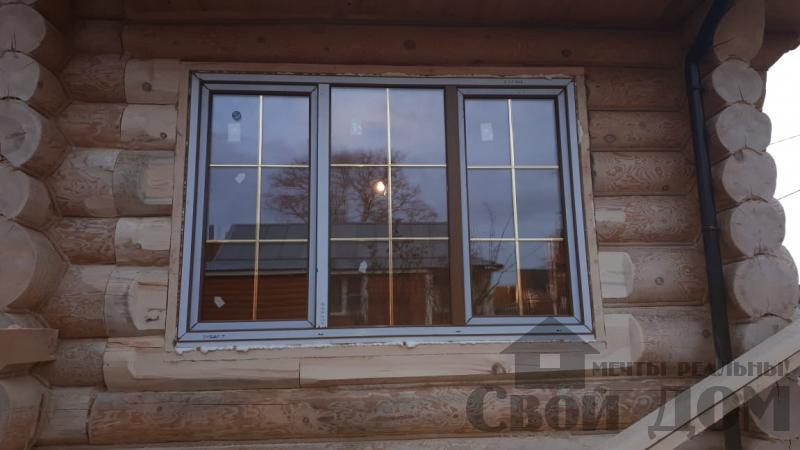 Установка окон с окосячкой проемов в доме из бревна в Красное на Волге д. Русиново. Фото 16