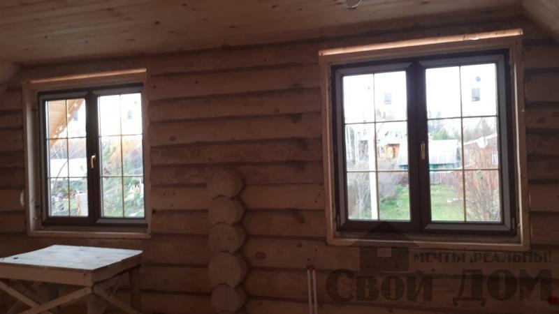 Установка окон с окосячкой проемов в доме из бревна в Красное на Волге д. Русиново. Фото 19