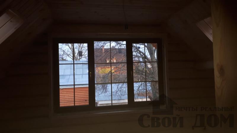 Установка окон с окосячкой проемов в доме из бревна в Красное на Волге д. Русиново. Фото 20