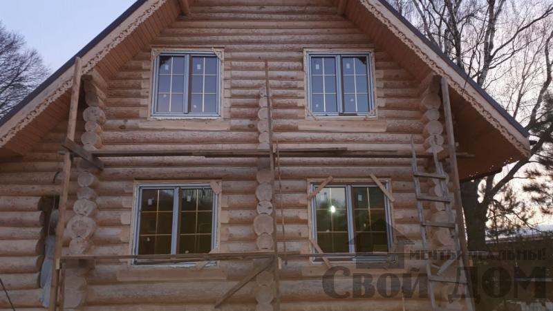 Установка окон с окосячкой проемов в доме из бревна в Красное на Волге д. Русиново. Фото 22