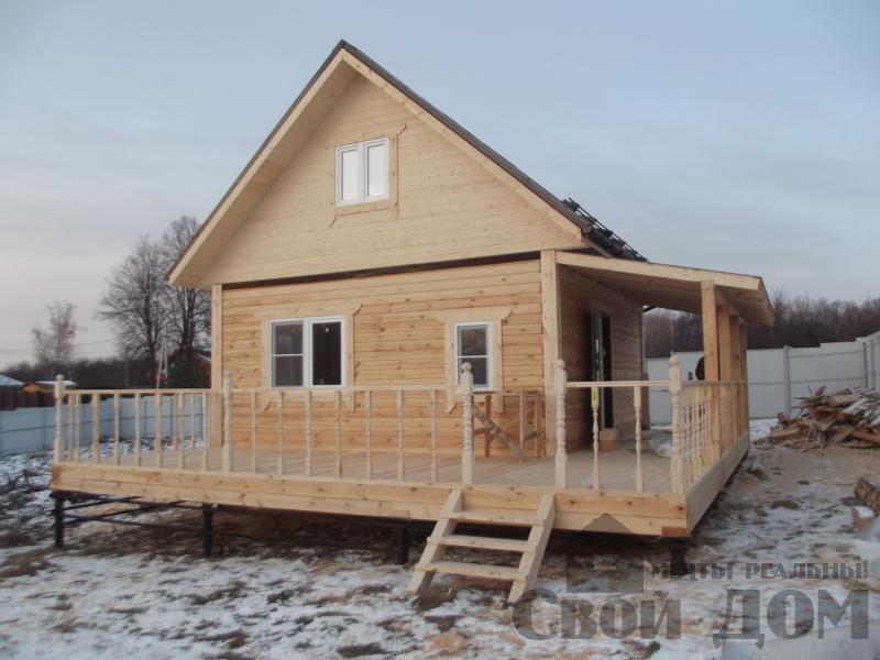 Строительство дома 6 на 6 с террасами в Луховицах. Фото 1