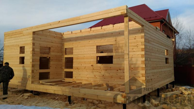 Щелково. Новый городок. Строительство дома из профилированного бруса 150 150 по проекту Брус 43. Фото 9