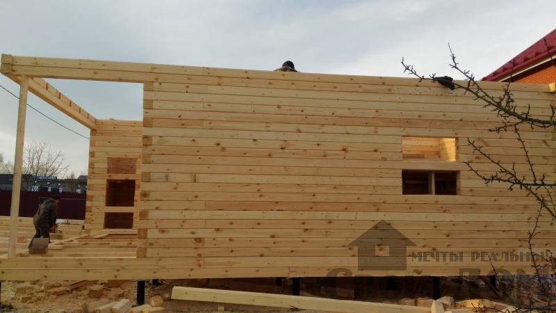 Щелково. Новый городок. Строительство дома из профилированного бруса 150 150 по проекту Брус 43. Фото 10