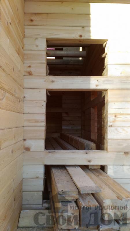 Щелково. Новый городок. Строительство дома из профилированного бруса 150 150 по проекту Брус 43. Фото 13