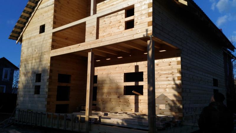 Щелково. Новый городок. Строительство дома из профилированного бруса 150 150 по проекту Брус 43. Фото 15