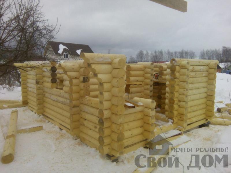 Сборка сруба из оцилиндрового бревна в Ярославле. Фото 6