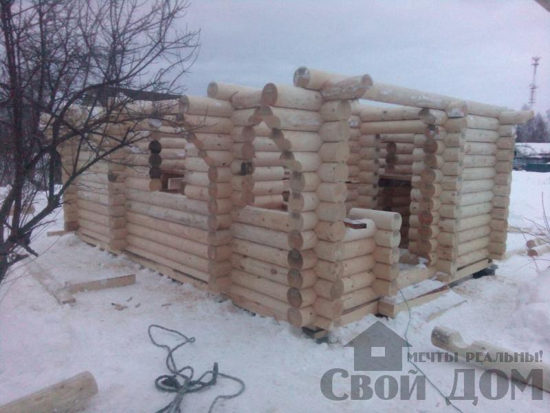 Сборка сруба из оцилиндрового бревна в Ярославле. Фото 7